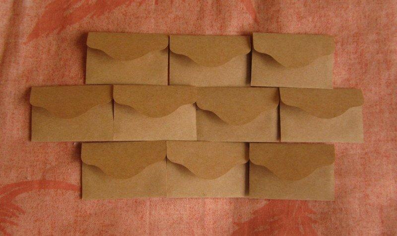 "10 Little Brown Handmade Recycled Envelopes - 2 3/8"" x 1 1/2"""