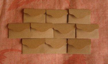 "50 Little Brown Handmade Recycled Envelopes - 2 3/8"" x 1 1/2"""