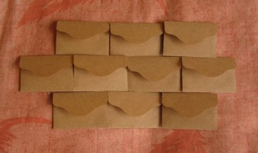 "200 Little Brown Handmade Recycled Envelopes - 2 3/8"" x 1 1/2"""