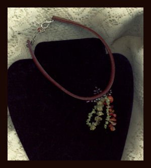 Hippie Style Leather Choker Collar Necklace Beaded Accents
