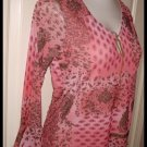 Salmon Pink Hippie Style Shirt Size Medium St Johns Bay