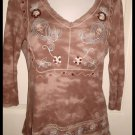 Brown Hippie Style Pull Over Tunic Brown Tie Dye Look Med