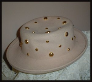Vintage Fedora Ladies Hat Gold Studs Wool Lite Felt Tan 1960s