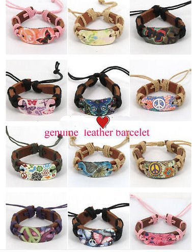 Flower Peace Butterfly Genuine Leather Bracelet You Pick