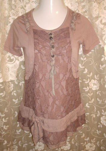 Brown Layered LACE Shirt Vintage Style Buttons Size Small by Angel