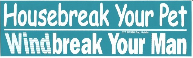Housebreak Your Pet Windbreak Your Man Bumper Sticker