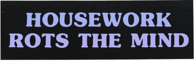 HOUSEWORK ROTS THE MIND Bumper Sticker