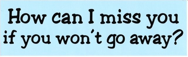 How can I miss you if you won't go away? Bumper Sticker
