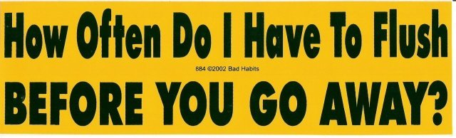How Often Do I Have To Flush BEFORE YOU GO AWAY? Bumper Sticker