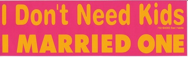 I Don't Need Kids I MARRIED ONE Bumper Sticker