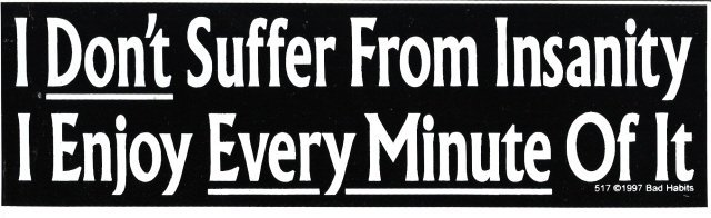 I Don't Suffer From Insanity I Enjoy Every Minute Of It Bumper Sticker
