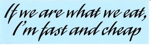 If we are what we eat, I'm fast and cheap Bumper Sticker