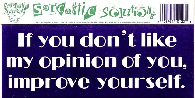 If you don't like my opinion of you, improve yourself. Bumper Sticker