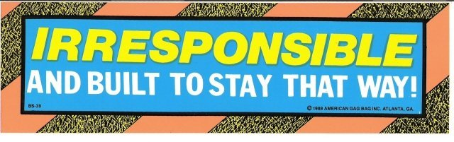 IRRESPONSIBLE AND BUILT TO STAY THAT WAY! Bumper Sticker