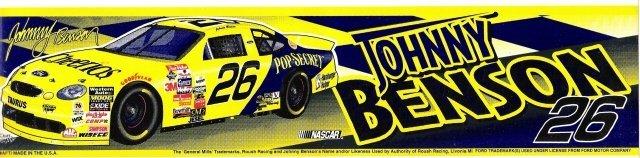 JOHNNY BENSON #26 Bumper Sticker