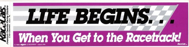LIFE BEGINS When You Get to the Racetrack! Bumper Sticker