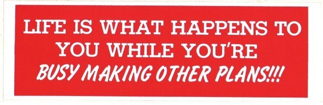 LIFE IS WHAT HAPPENS TO YOU WHILE YOU'RE BUSY MAKING OTHER PLANS!!! Bumper Sticker
