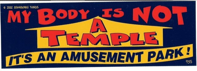 MY BODY IS NOT A TEMPLE IT'S AN AMUSEMENT PARK! Bumper Sticker