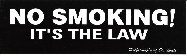 NO SMOKING! IT'S THE LAW Bumper Sticker