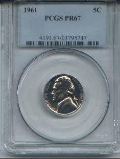 1961 proof 67 jefferson nickel