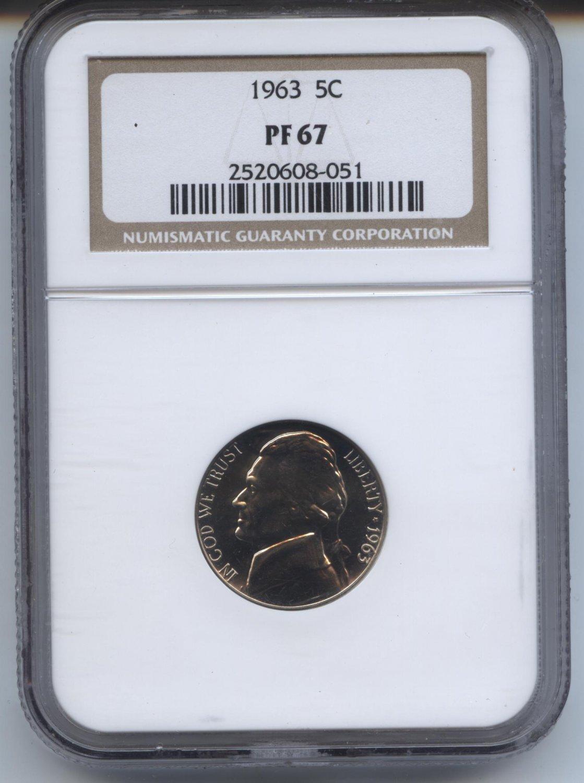 1963 proof 67 jefferson nickel
