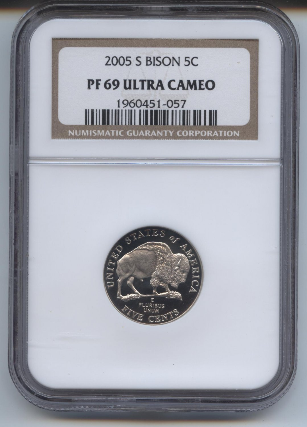 2005 proof 69 ultra cameo bison jefferson nickel