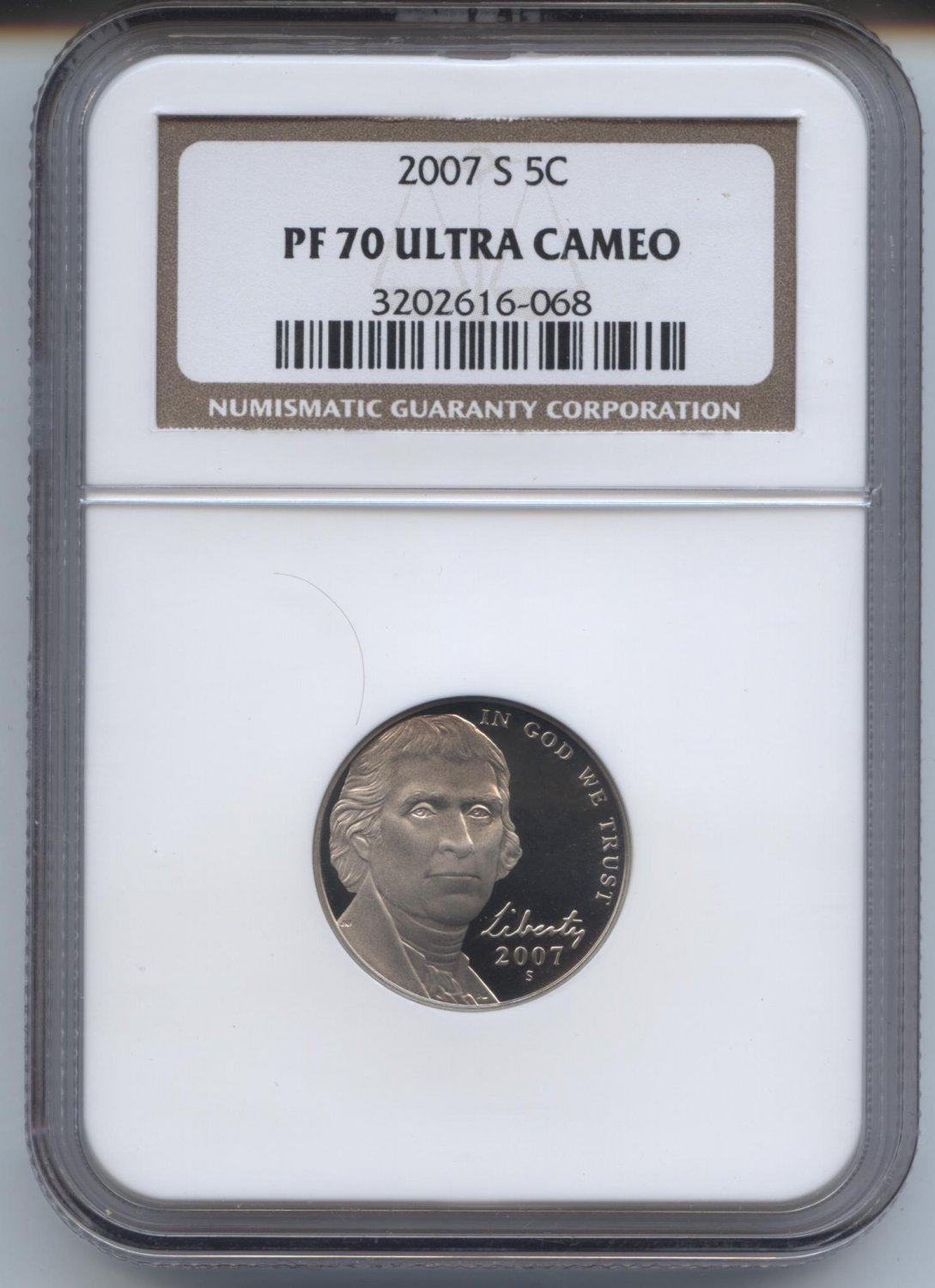 2007 proof 70 ultra cameo jefferson nickel