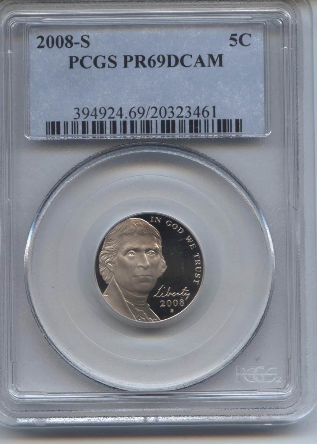 2008 proof 69 deep cameo jefferson nickel