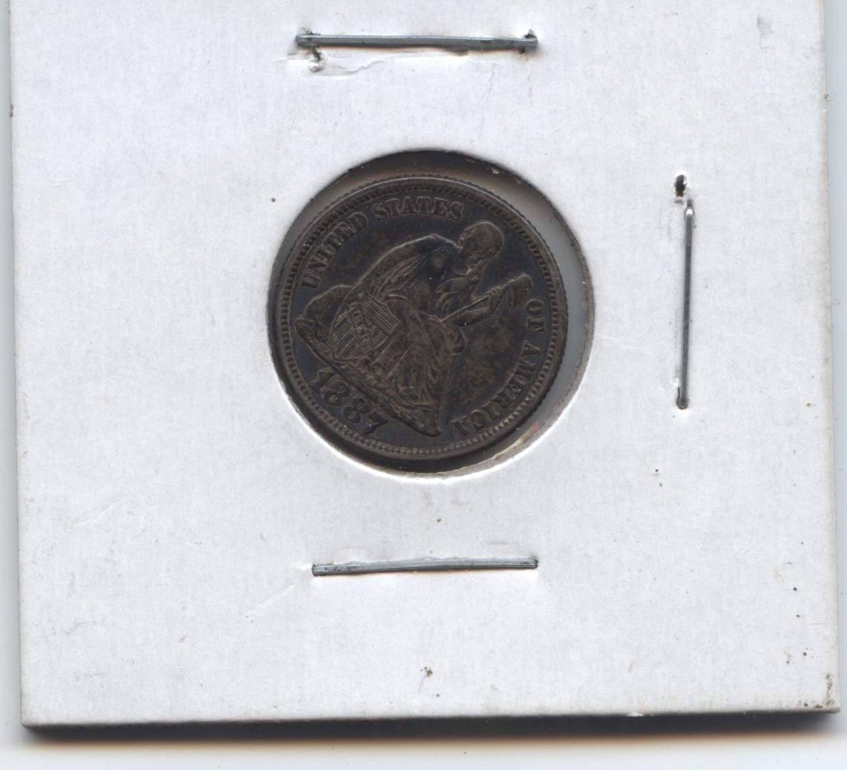 1887 seated liberty dime   EXTRA FINE
