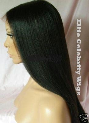 "16"" Full Lace Wig, 100% Premium Indian Remy, Yaki Straight, #1b (Off Black)"