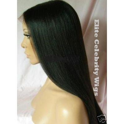 22 Inch Full Lace Wig Yaki Straight, #1 (Jet Black)