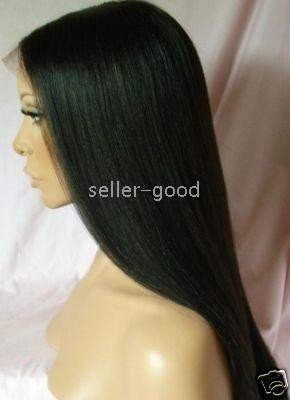 "Full Lace Wig.......16"" 100% Indian Remy Yaki Straight, #1 (Jet Black)"