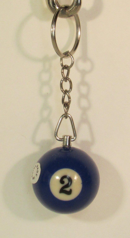 1.25 Inch Number 2 Two Mini POOL BALL Billiard Key Chain Ring Keychain NEW