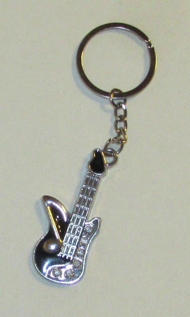 Mini GUITAR w Music Note Metal KEY CHAIN Ring Keychain NEW
