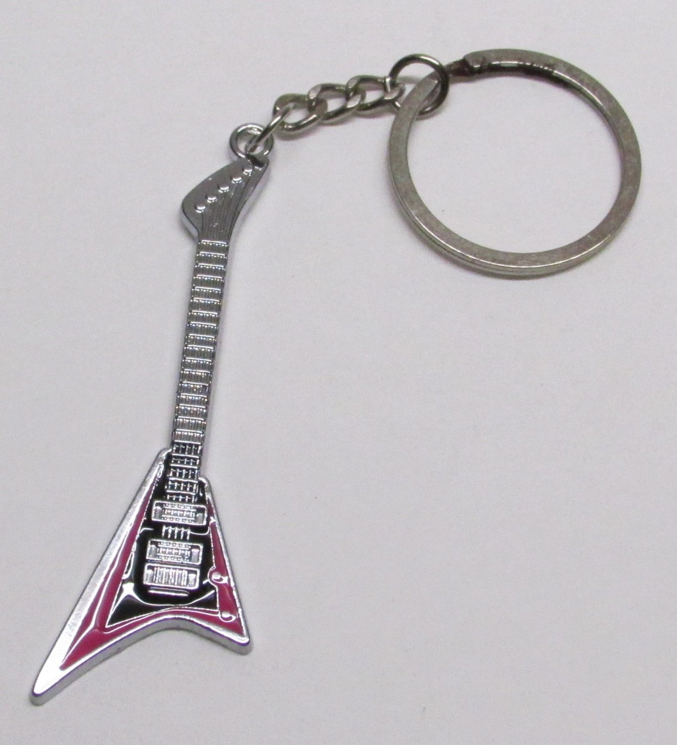 FLYING V Magenta Electric GUITAR Metal Alloy KEY CHAIN Ring Keychain NEW