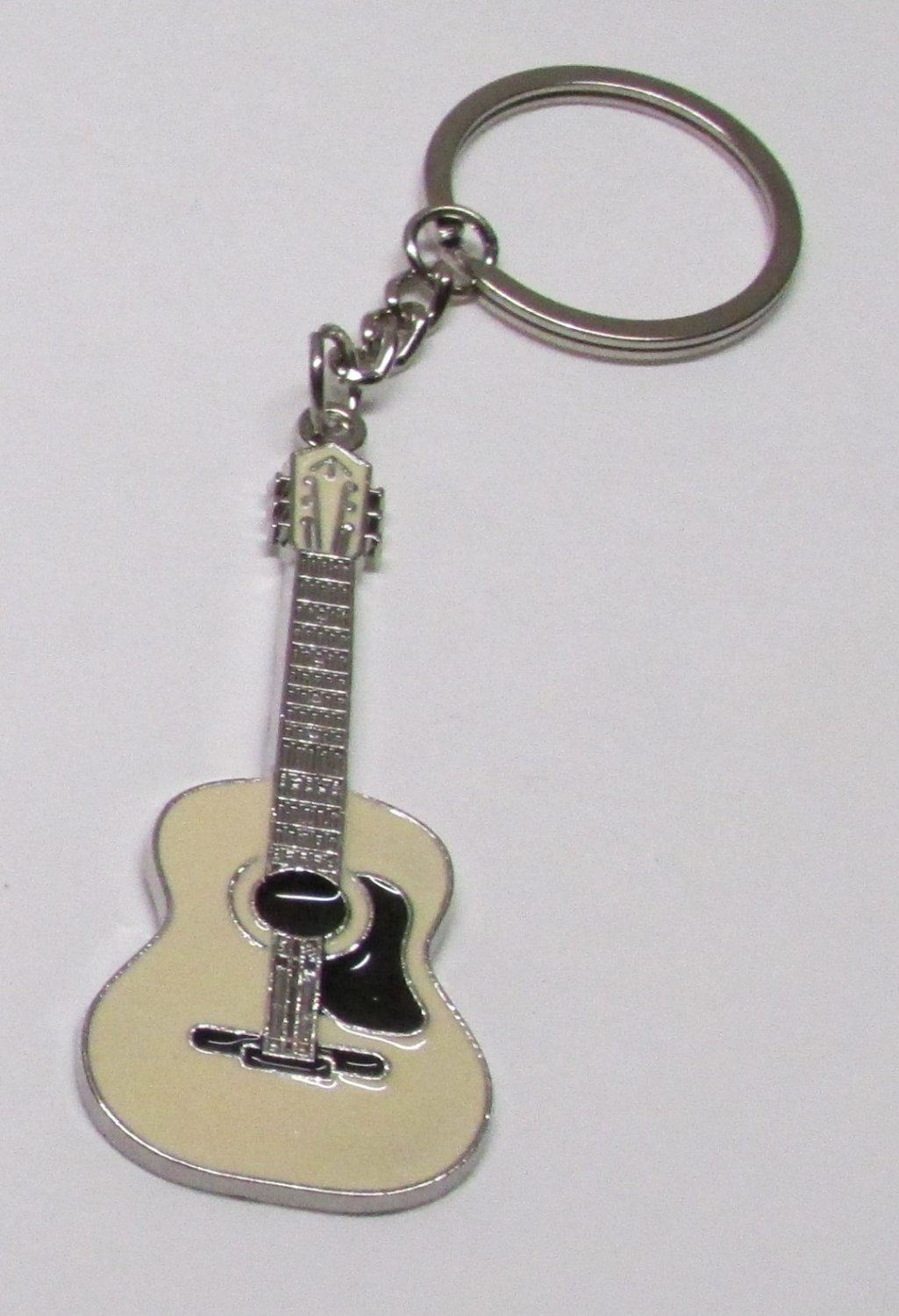 ACOUSTIC White GUITAR Metal Alloy KEY CHAIN Ring Keychain NEW