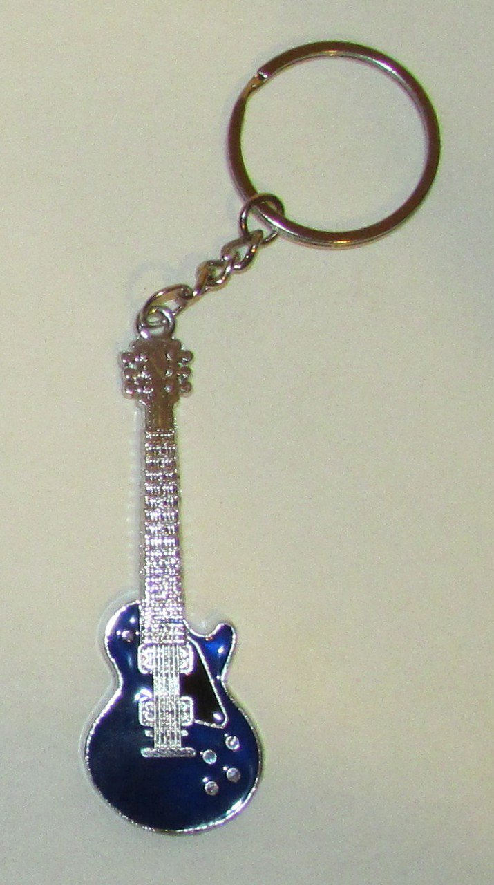 Exquisite Blue GUITAR Metal Alloy KEY CHAIN Ring Keychain NEW