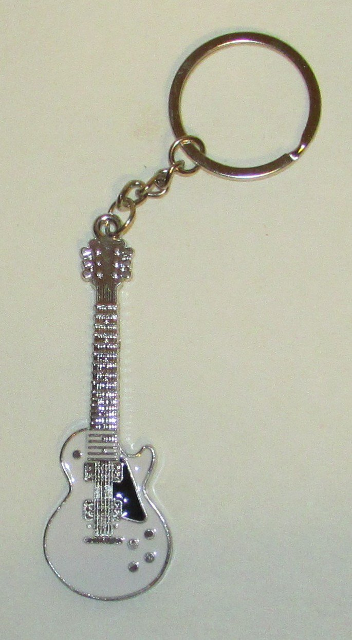 Exquisite White GUITAR Metal Alloy KEY CHAIN Ring Keychain NEW