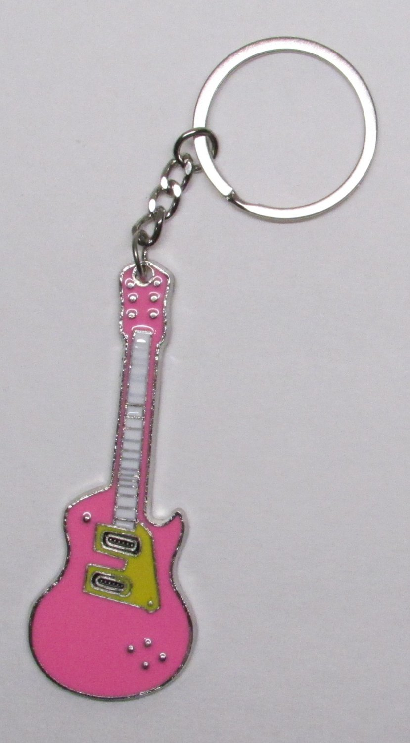 Electric GUITAR Pink Metal Alloy KEY CHAIN Ring Keychain NEW