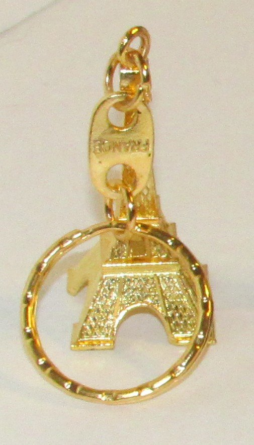 Gold Color EIFEL TOWER Paris France KEY CHAIN Ring Keychain NEW