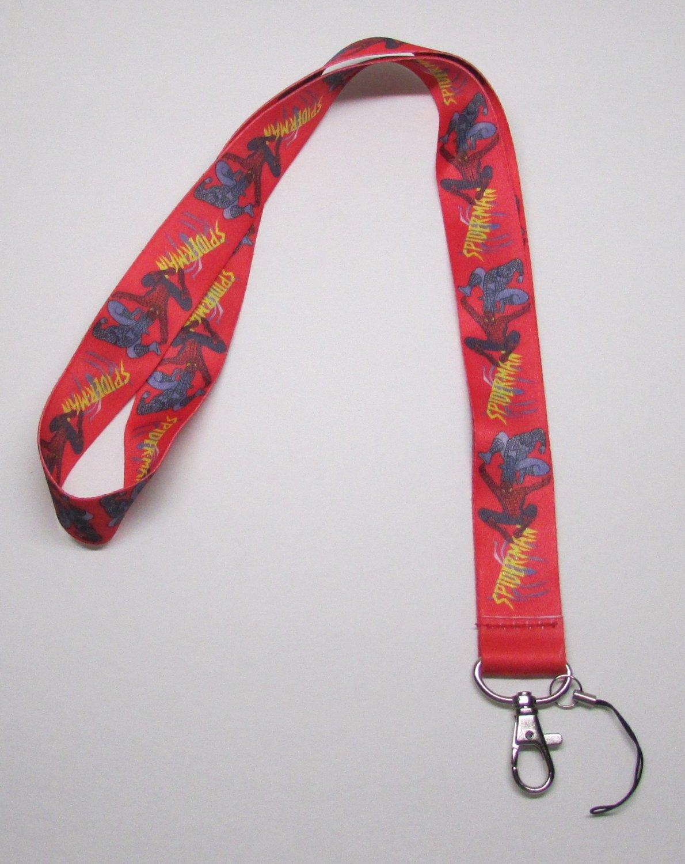 Red SPIDERMAN LANYARD KEY CHAIN Ring Keychain ID Holder NEW