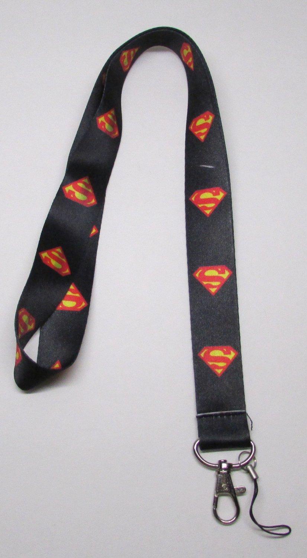 Black SUPERMAN LANYARD KEY CHAIN Ring Keychain ID Holder NEW