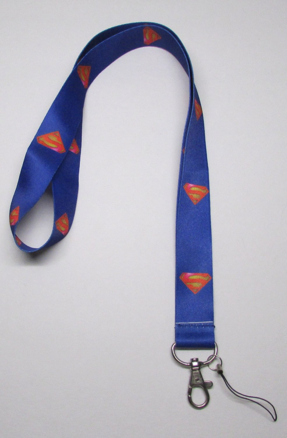 Blue SUPERMAN LANYARD KEY CHAIN Ring Keychain ID Holder NEW