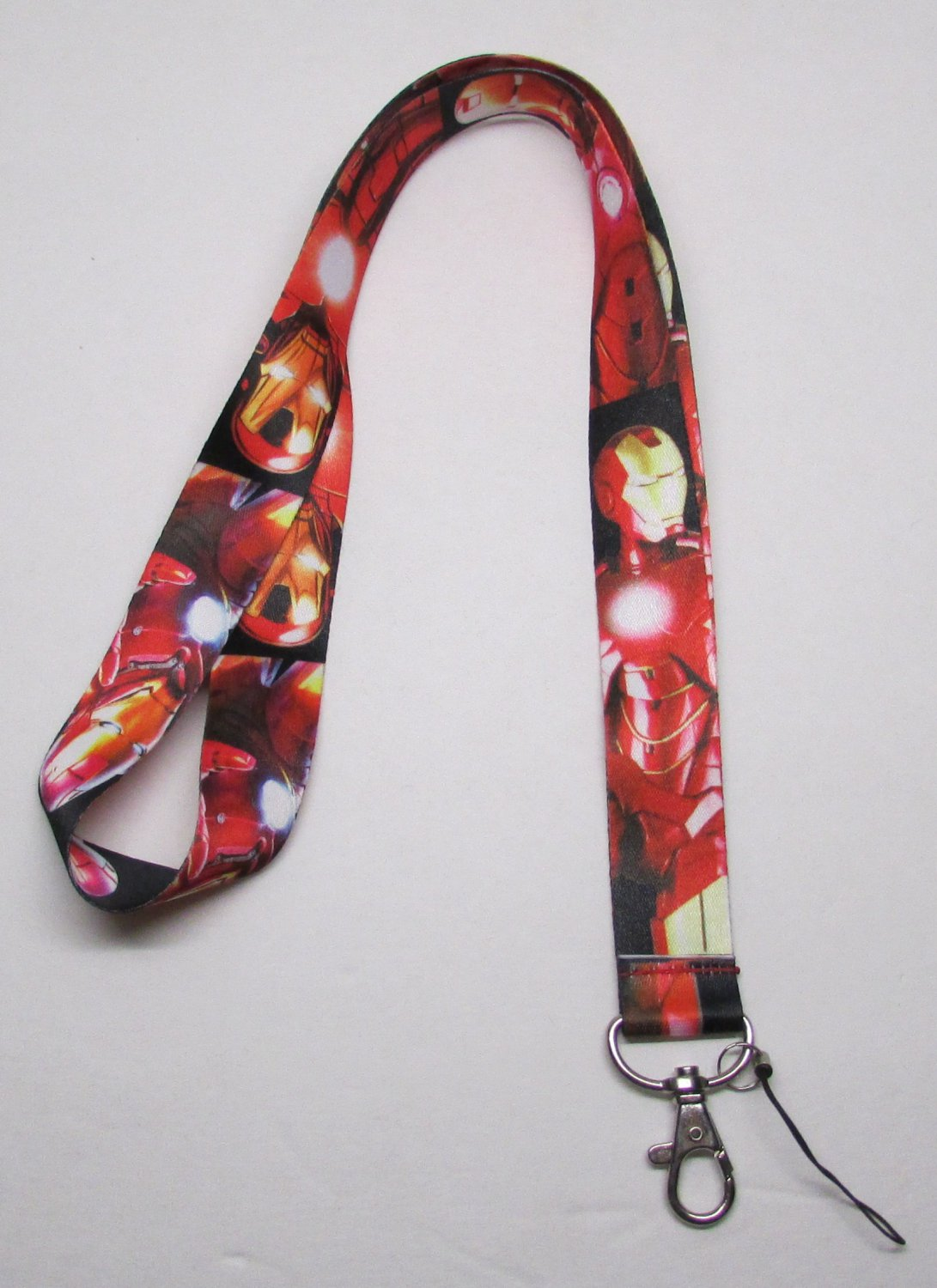 Red IRONMAN LANYARD KEY CHAIN Ring Keychain ID Holder NEW