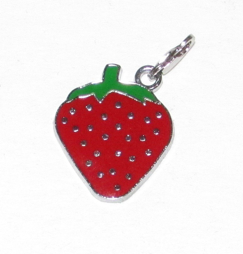 Small Enamel STRAWBERRY Pendant Charm Lobster Clip KEY CHAIN Ring Keychain NEW