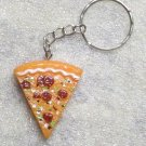 PIZZA Slice Resin KEY CHAIN Ring Keychain NEW