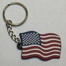 AMERICAN FLAG USA Patriotic Rubber Novelty KEY CHAIN Ring Keychain NEW