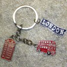 BRITISH Bus Phonebooth London Blue Color Metal Alloy KEY CHAIN Ring Keychain NEW