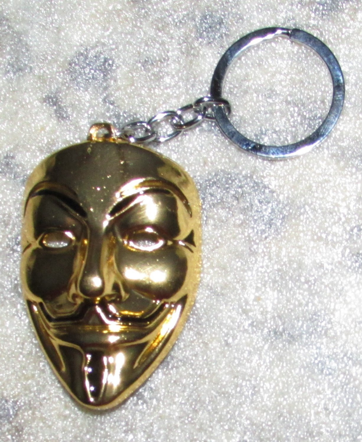 ANONYMOUS Guy MASK V for Vendetta Gold Color Metal KEY CHAIN Ring Keychain NEW