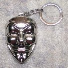 ANONYMOUS Guy MASK V for Vendetta Silver Color Metal KEY CHAIN Ring Keychain NEW